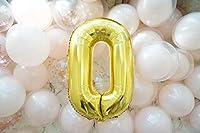 Forzza 数字風船 数字バルーン アルミ風船 誕生日 バースデー 飾り付け 装飾セット お祝い 36インチ ゴールド (0)