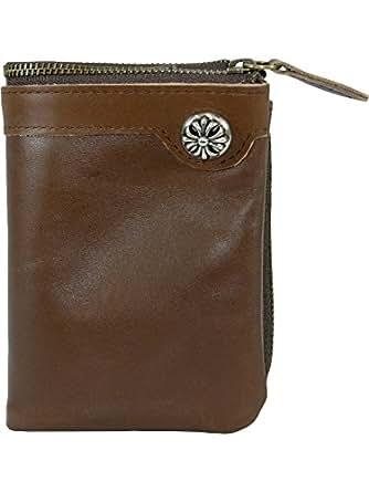 [プレックス]PREX 本革 コンチョ付き 二つ折り財布 レザー ウォレット AKR-047 ブラウン