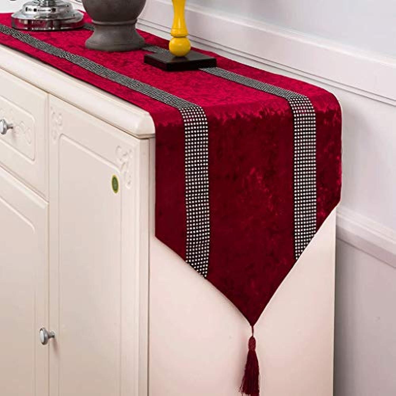 テーブルランナー ホームデコレーション 北欧 タッセル 豪華 ダイヤモンド モダン 長方形 エレガント 結婚式 お祝い 33×160/180/210/250/280cm (Color : Red, Size : 33×180cm)