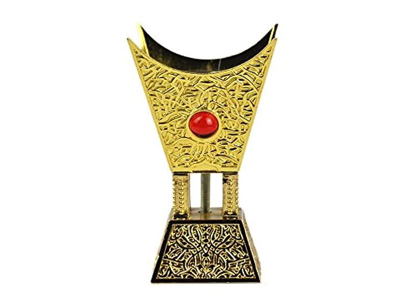 雇用者勇気のある機知に富んだArabia Incense / bakhoor Burner ( Mabkhara ) – Oud Burner、ゴールドメタル、トレイInside – USA Seller