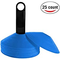 Reehut マーカーコーン ディスクコーン トレーニングコーン 使用説明書&プラスチックホルダー付き サッカーなどのボールスポーツ用 25枚セット