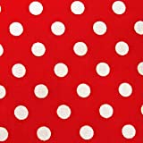 水玉 生地 ドット 生地 ブロード 生地 (色:赤) (水玉の大きさ:小・直径約7mm) (50cmから注文可) (価格は10cmの価格)