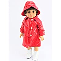 Red Rain Coat with Hat - Rainboots & Doll NOT INCLUDED - Fits 46cm American Girl Dolls, Madame Alexander, Our Generation, etc. - 46cm Doll Clothes - Doll Not Included