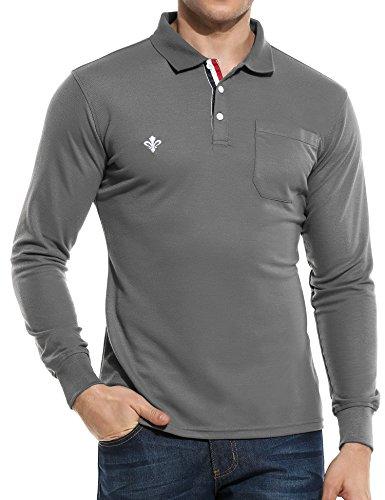 (クーファンディ)Coofandy ポロシャツ メンズ ゴルフウェア 長袖 無地 薄手 おしゃれ カジュアル ビジネス 大きいサイズ S - XXXL 白 黒 グレー