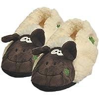 Carrolls Irish Gifts Souvenir Seamus The Sheep Fuzzy Slipper Socks with Grips, Cream Colour