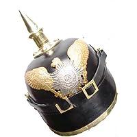 Queen Brass German PickelhaubeヘルメットPickelhauben SpikedレザーPrussian標準ブラック