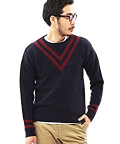 Beams Plus Crewneck Cricket Sweater 11-15-0362-103: Navy / Red