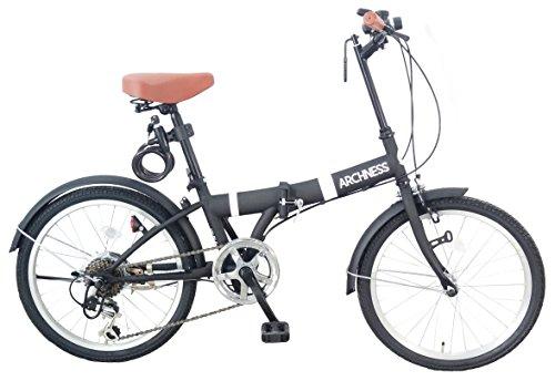 ARCHNESS 206-A 折りたたみ自転車 20インチ 6段変速 ワイヤー錠・LEDライト付 (ブラック)