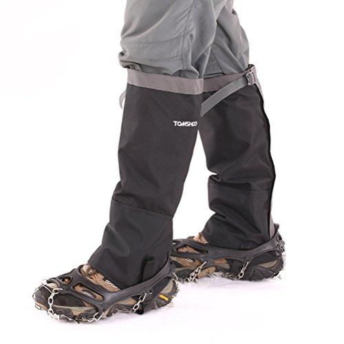 TOMSHOO ゲイータ レッグガイター とノンスリップシューズカバーステンレススチールチェーン 19本歯爪 滑り止めスパイク 1ペア スキー ハイキング クライミング用 簡単装着 雪道・凍結路面も安心