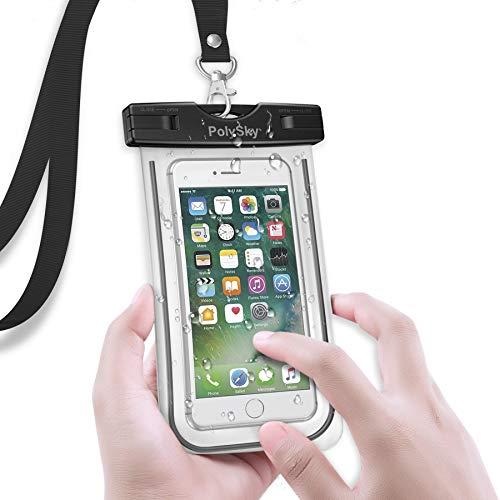 【強化版-感度アップIPX8認定】防水ケース PolySky 夜間発光 防水カバーiPhone/Samsung Galaxy S8/S7 edge/SONY Xperia/HUAWEI 6インチ以下のスマホに対応 お風呂 温泉 釣り 水泳などに最適な完全防水携帯ケース (ブラック)