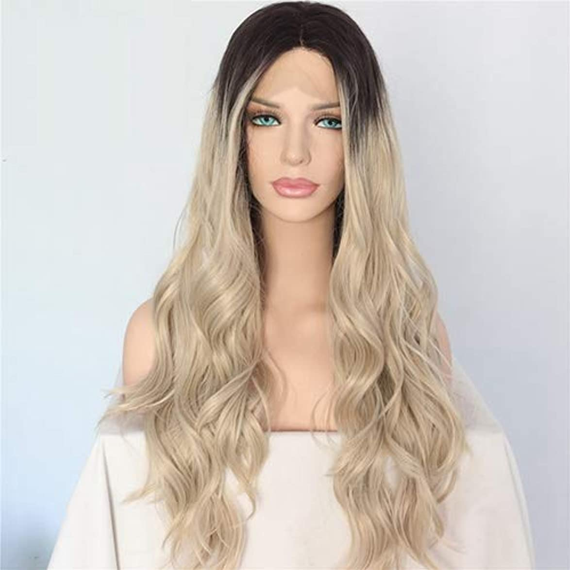 ドラマ診療所熟読美しく Lvcherylの合成レースフロントウィッグ女性ナチュラルウェーブオンブルブロンドブラウン髪のルーツウェディングヘアウィッグハンドタイド髪のかつらのために (Color : 820, Stretched Length : 26inches)