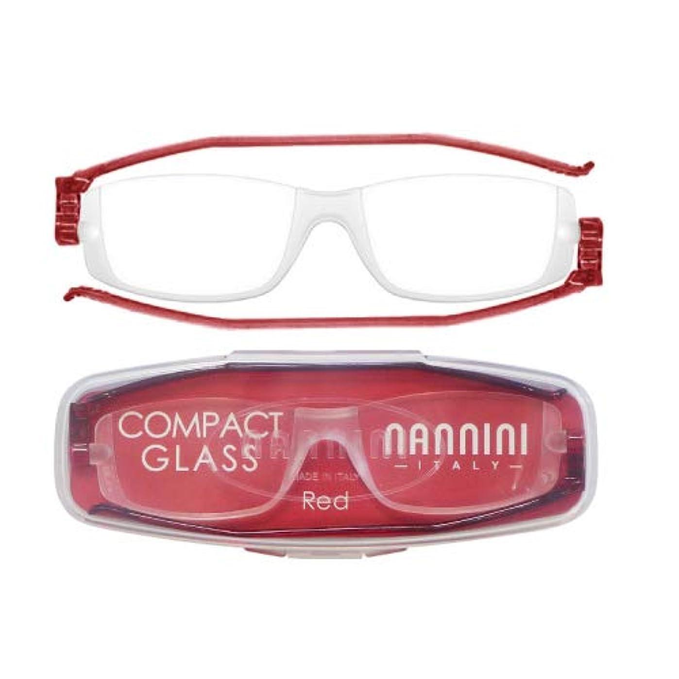 老眼鏡 コンパクトグラス2 nannini リーディンググラス 男性用 女性用 メンズ レディース シニアグラス 全12色(+1.50,レッド)