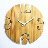 現代の北欧の柱時計のリビングルームシンプルなオリジナルパインの柱時計片面ラウンドデジタル装飾時計