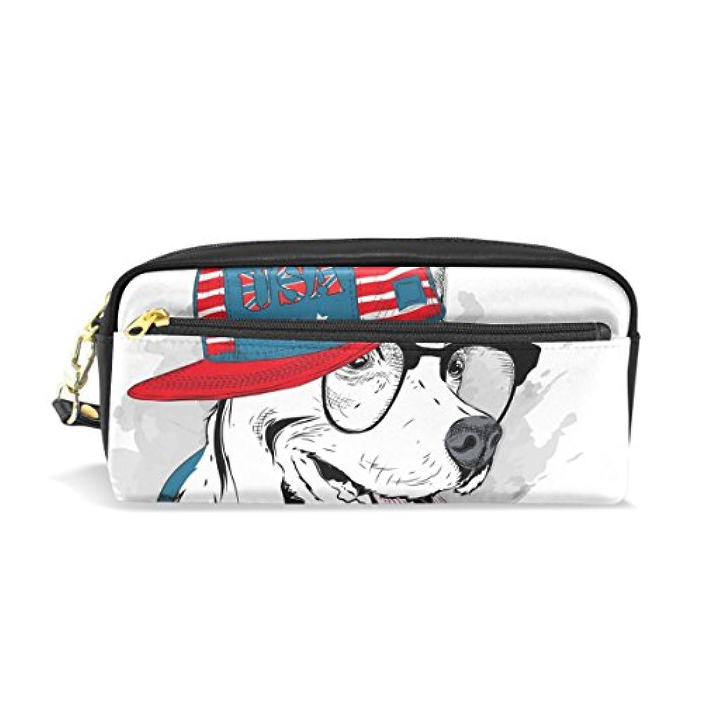 メロディアス抽象約設定AOMOKI ペンケース 化粧ポーチ 小物入り 多機能バッグ アメリカ風 犬 かっこいい