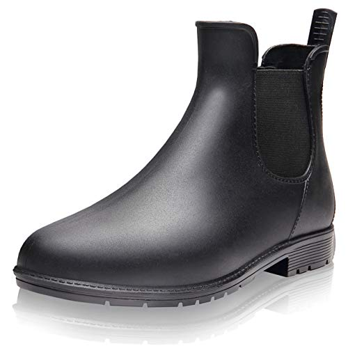 [aloalo hola] レインブーツ レインシューズ 雨靴 サイドゴア レディース ブラック 23.5cm
