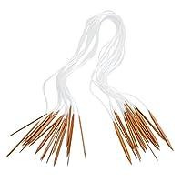 18本入り かぎ針セット 編み針 棒針キャップ 手芸 DIY 炭化竹 編み針 輪針 棒針 18サイズ(2mm-10mm) 全長80cm