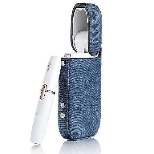 iQOSアイコス ケース ハード ケース 電子たばこ カバー 2.4、2.4Plus 革 PUレザー デニム ジーンズ (デニム...