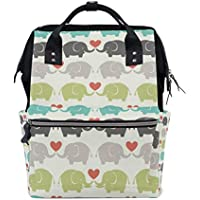 ママバッグ マザーズバッグ リュックサック ハンドバッグ 旅行用 エレファントと心柄 可愛い ファション