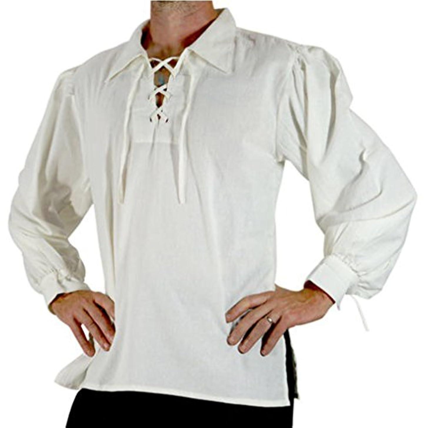 無駄に受け入れ受取人Honel シャツ メンズ レースアプ襟 立襟 中世スタイル衣装 長袖 縛る袖口 レトロ