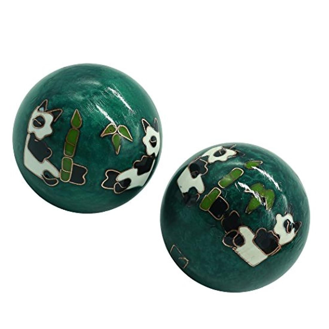 風水グッズ 健康球 健身球 脳 活性 ストレス トレーニング器具 手の機能回復 2個 パンダ (グリーン, 35mm) INB168