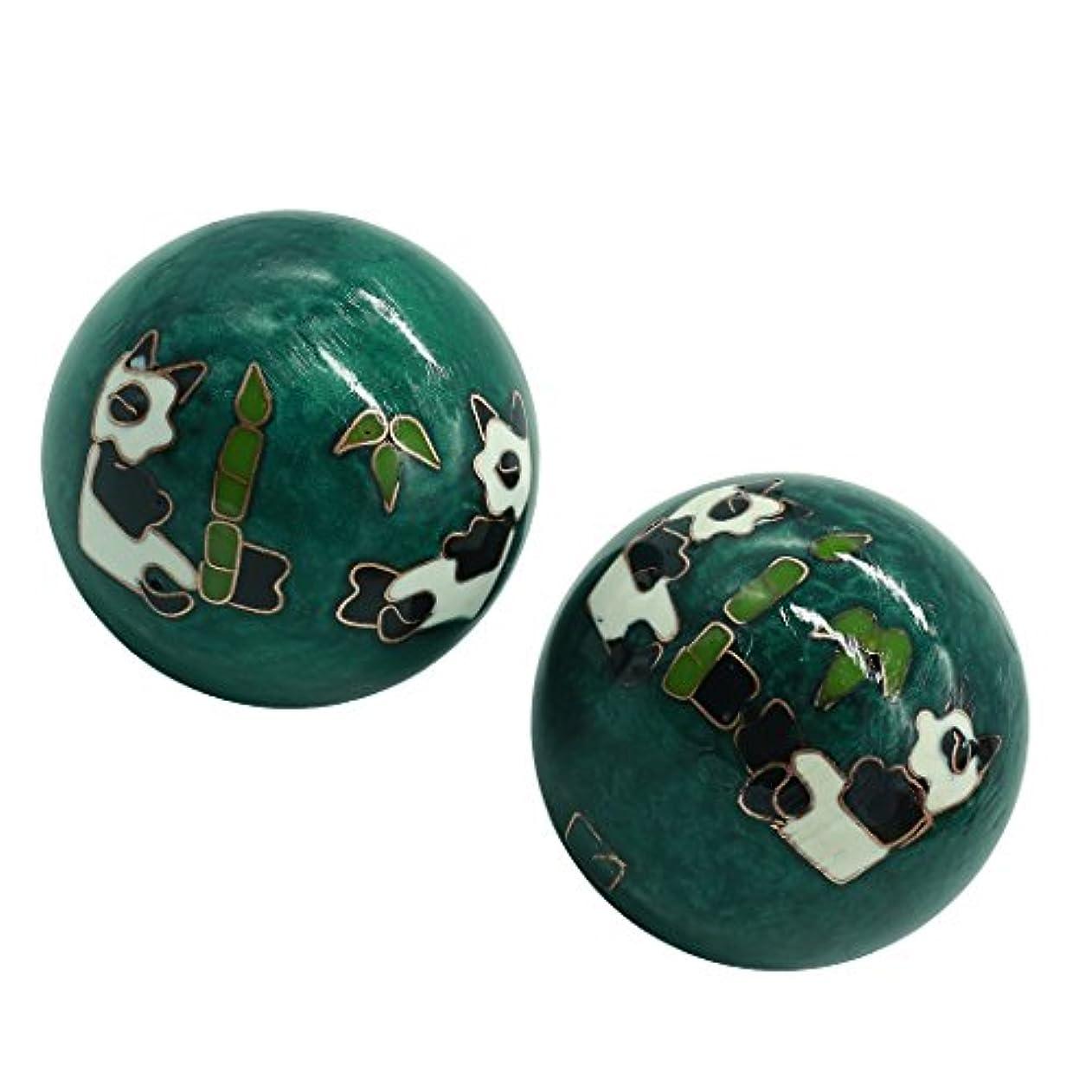 本質的により解体する風水グッズ 健康球 健身球 脳 活性 ストレス トレーニング器具 手の機能回復 2個 パンダ (グリーン, 50mm) INB171