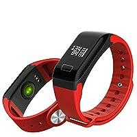 フィットネストラッカー、HD リモートカメラ付きスマートリストバンド、アンチロスト機能、メッセージ/コール通知、心拍数と血圧モニタリング,赤