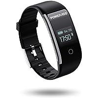 Poweradd スマートウォッチ ユニセックス スマートブレスレット スポーツウォッチ 多機能:血圧測定 心拍計 歩数計 活動量計 着信通知 IP67防水 (ブラック)【2年間保証】