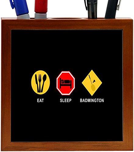 Rikki Knight Eat Sleepバドミントンデザイン5インチ木製タイルペンホルダー( rk-ph9074)