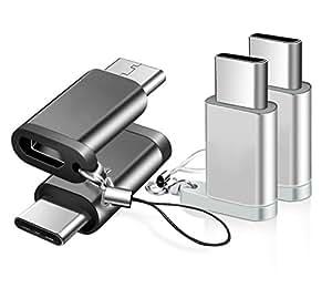 【4個セット】BRG Usb Type C 変換 ,Micro USB → USB-C変換アダプタ アルミニウム合金製 type c 新しいMacBook、ChromeBook Pixel、Nexus 5X、Nexus 6P、Nokia N1、エクスペリア、OnePlus 2、Galaxy S8、 note8、samsung s9 、samsung s9 plus、samsung s9+などType-C端末に対応(黒+シルバー)