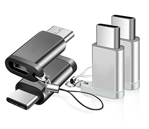 【4個セット】BRG Usb Type C 変換 ,Micro USB → USB-C変換アダプタ アルミニウム合金製 type c,ChromeBook Pixel、Nexus 5X、Nexus 6P、Nokia N1、エクスペリア、OnePlus 2、Galaxy S8、 note8、samsung s9 、samsung s9 plus、samsung s9+などType-C端末に対応(黒+シルバー)