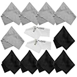 Eco-Fused Microfiber Cleaning Cloths - 10 Cloths and 2 White Cloths - Ideal for Cleaning Glasses, Camera Lenses, Tablets, iPhone, Android Phones, LCD Screens 5 Black + 5 Grey