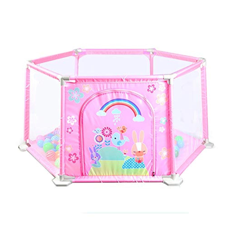 BSNOWF-ベビーサークル 折り畳み式安全ベビープレイヤード、6パネルプラスチック安定したアンチロールオーバー幼児のプレイペン、子供の折り畳み式遊びペン (色 : Pink)