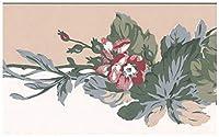 York 壁紙ボーダー - グリーンバインセピアホワイトウォールボーダーレトロなデザインでピンクの花、Prepastedロール15フィート。 X 4で。