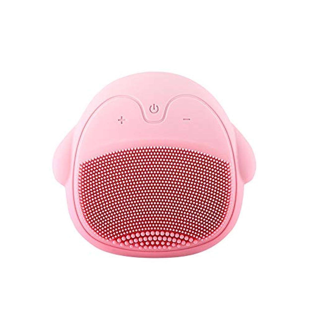 温度計異邦人ピアースシリコンフェイスブラシ、洗顔ブラシ、ディープクレンジング、スキンケア、かわいい、ピンク