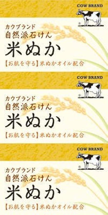 毎年オーバードロー承認する牛乳石鹸共進社 カウブランド 自然派石けん 米ぬか 100g×3個入×24点セット (4901525002899)