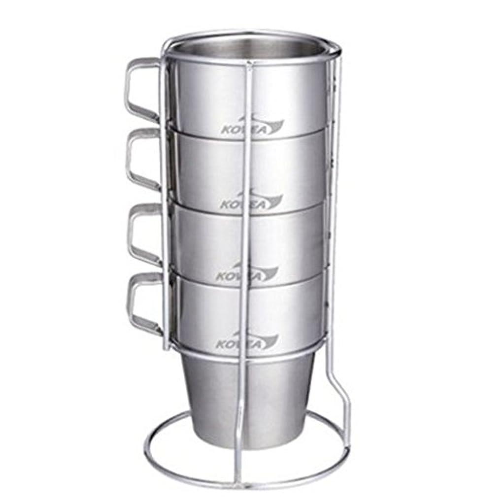 戸惑う維持それからKovea Stainless Double Mug Set for Campingコベアキャンプ用ステンレスダブルマグカップセット[並行輸入品]