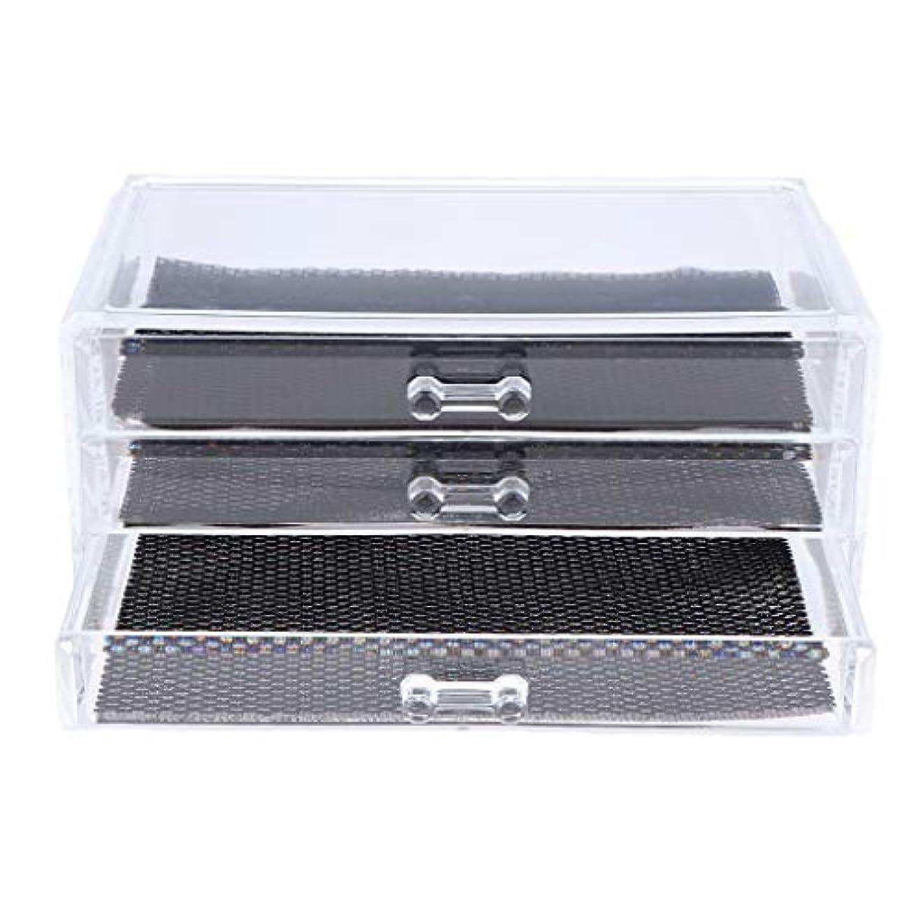 脱獄当社絡み合いPerfeclan 化粧品収納ボックス メイクケース 化粧品収納整理 防塵 透明 コスメ収納ボックス 引き出し式 全3種 - 3つの引き出し