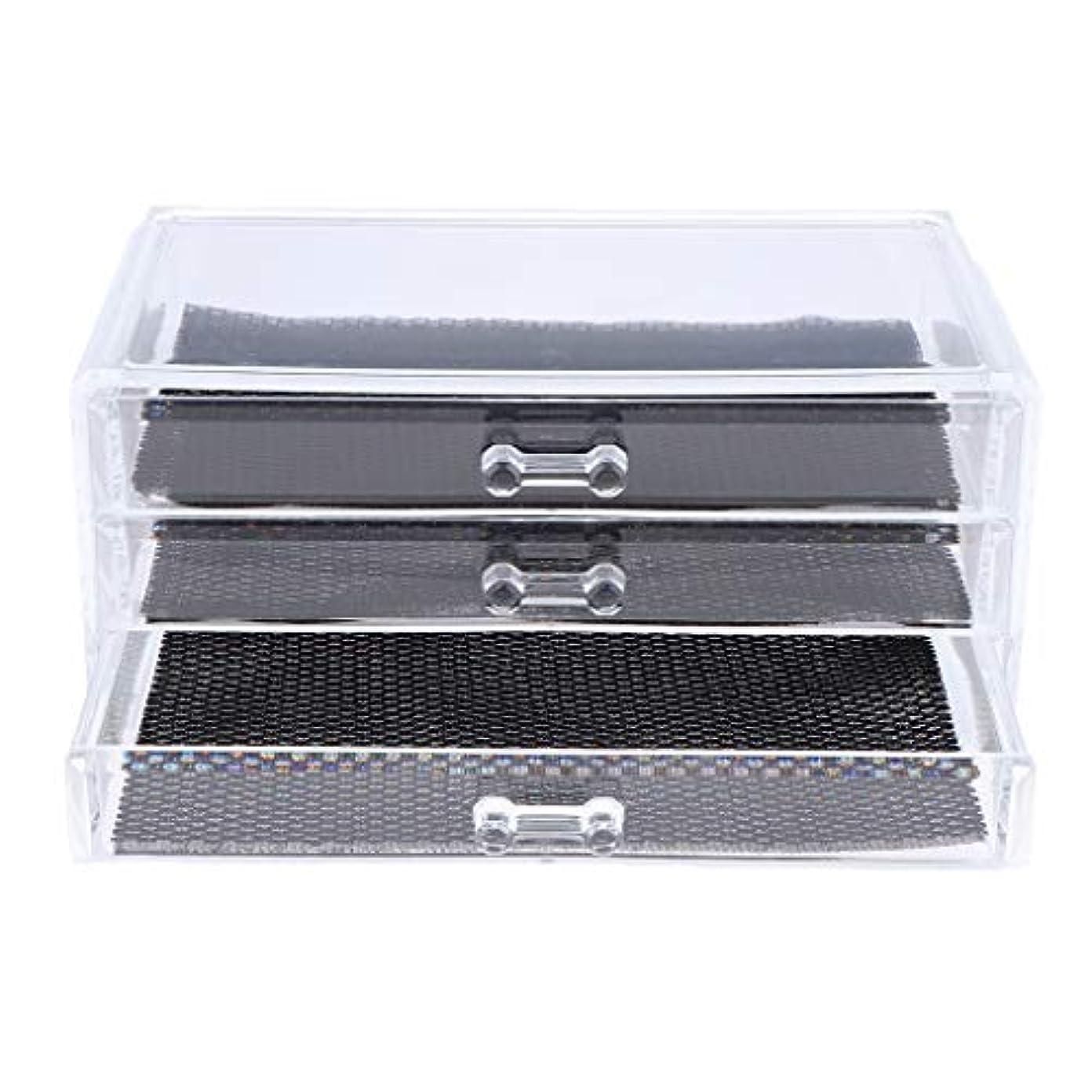 野望バレーボール合法Perfeclan 化粧品収納ボックス メイクケース 化粧品収納整理 防塵 透明 コスメ収納ボックス 引き出し式 全3種 - 3つの引き出し