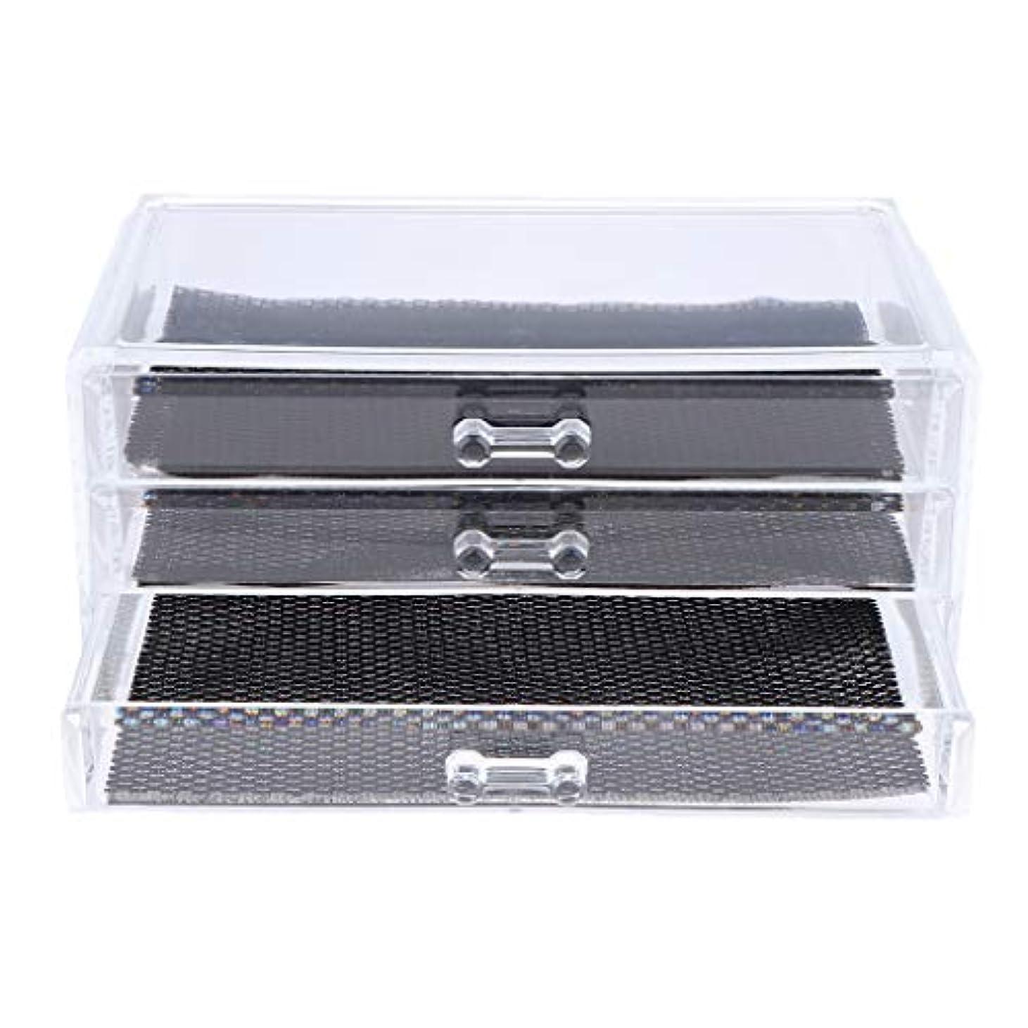 法医学深遠牧草地Perfeclan 化粧品収納ボックス メイクケース 化粧品収納整理 防塵 透明 コスメ収納ボックス 引き出し式 全3種 - 3つの引き出し