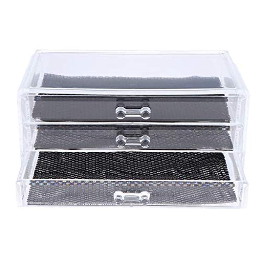 海岸靴仕様Perfeclan 化粧品収納ボックス メイクケース 化粧品収納整理 防塵 透明 コスメ収納ボックス 引き出し式 全3種 - 3つの引き出し