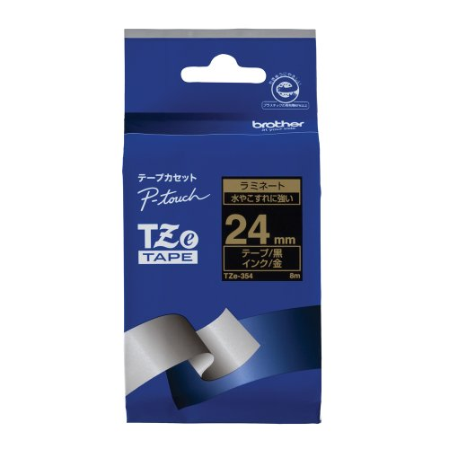 ピータッチ ラミネートテープ 黒ラベル TZe-354 [金文字 24mm×8m]