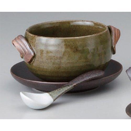 スープカップ 古染緑シチューボール 受皿スプーン付 [ボール14.5 x 10 x 6.5cm(400cc) 受皿14.3 x 2.2cm] 洋食器 カ.