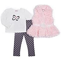 Little Lass Baby Girl 3-pc Fauxファーベスト&レギンスセット、Blush