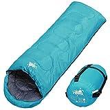 WhiteSeek 寝袋 シュラフ 封筒型 コンパクト収納タイプ 最低使用温度5℃ 1000g (ライトブルー)