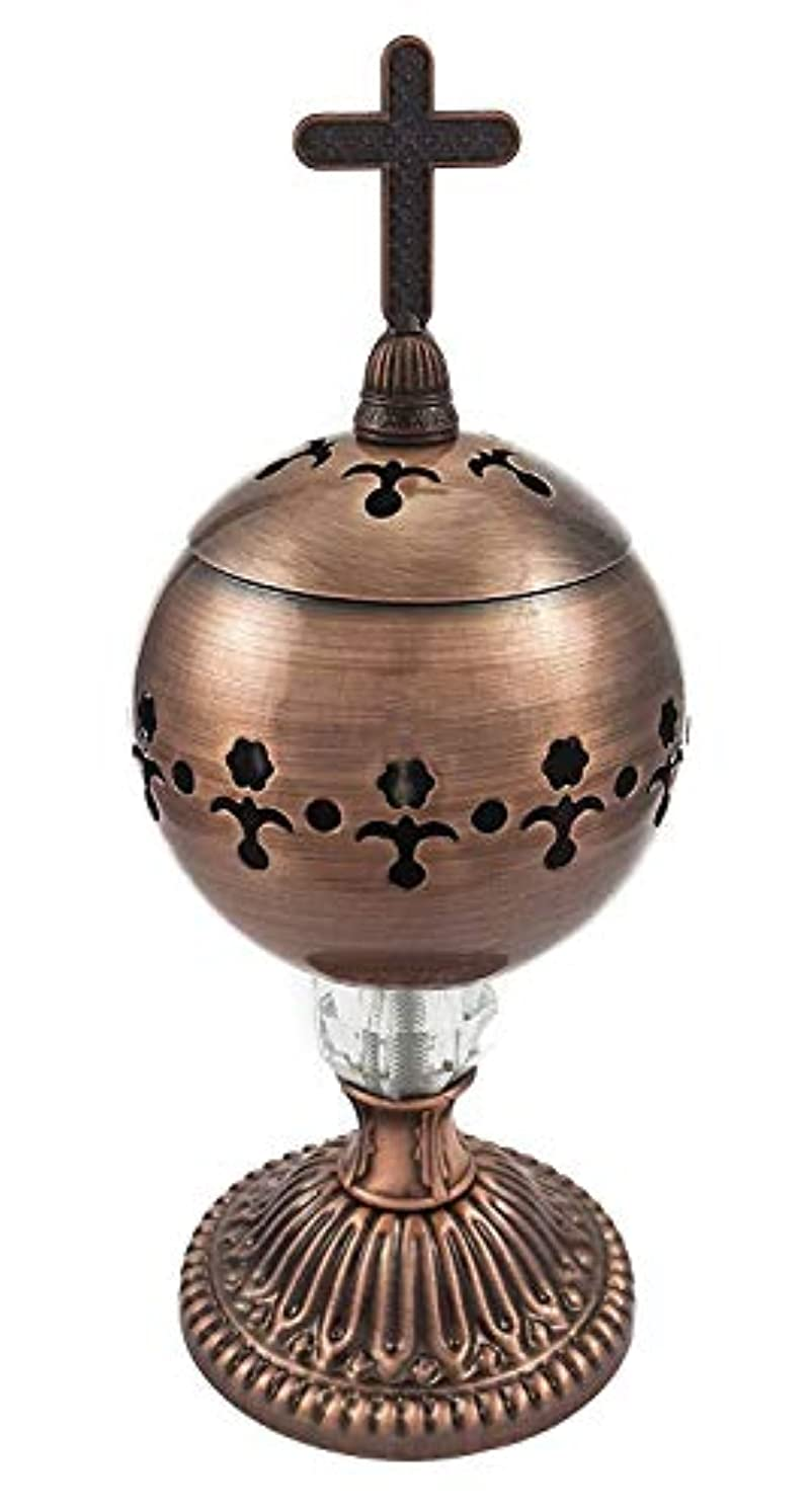 田舎バランスフィヨルド手作りブロンズCenser Polished Brassエルサレム教会Incense Burner Distiller