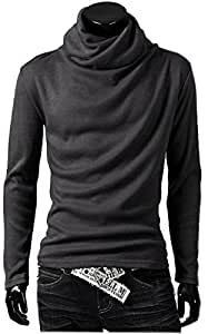 ONE LIMITATION(ワン リミテーション) メンズ タートルネック 長袖 スタイリッシュ アフガン カットソー ロング Tシャツ ON_TN001 (グレー,M)