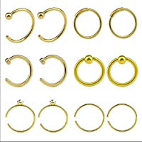 Niome 12Pcs C Shape Bone Surgical Steel Body Piercing Jewelry Nose Ring