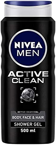 Nivea MEN Active Clean Shower Gel (500ml), Purifying Activated Charcoal Body Wash, Men's Shower Gel with M
