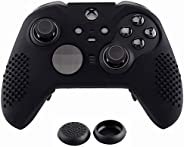 eXtremeRate Black Soft Anti-Slip Silicone Cover Skins, Controller Protective Case for New Xbox One Elite Serie