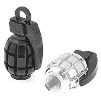 バイク手榴弾型タイヤバルブは、シルバートーンブラック2個カバー